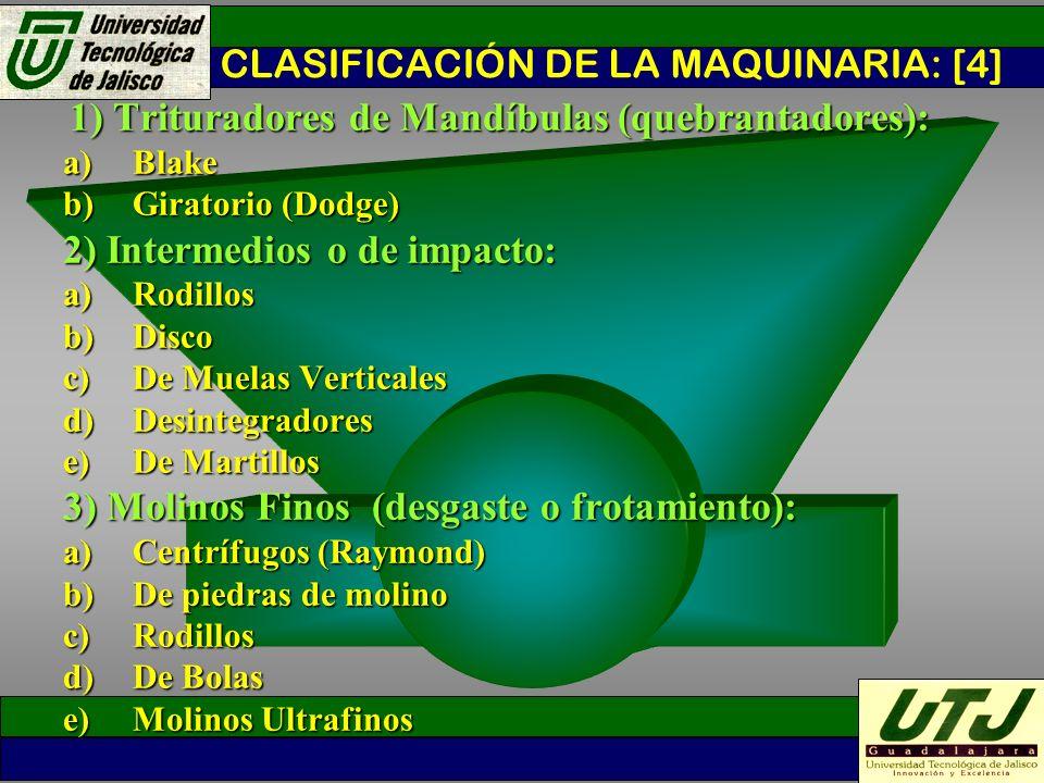 CLASIFICACIÓN DE LA MAQUINARIA: [4]
